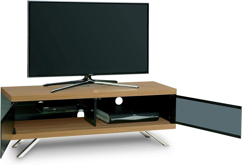 MDA Designs TUCANA 1200 HYBRID WALNUT Beam Thru Remote-Friendly 26-60 Flat Screen Walnut and Gloss Black TV Cabinet