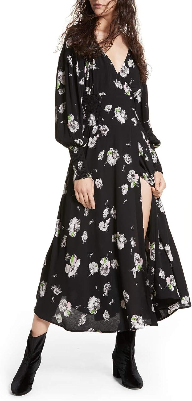 Free People Womens Floral Print Smocked Wrap Dress