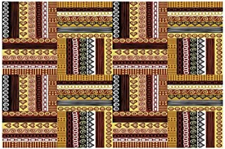 Ethnic Stylish Floor Sticker,Traditional African Oriental Motifs with Tribal Colors Nigerian Culture Elements for Kitchen Living Room,35.4