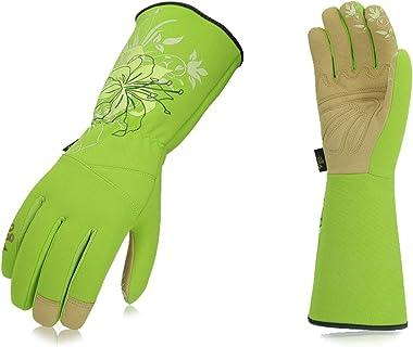 Vgo 1-Pair Ladies' Synthetic Leather Gardening Gloves, Long Sleeves Gauntlet, Breathable & Grip Work Gloves, High Dexterity,