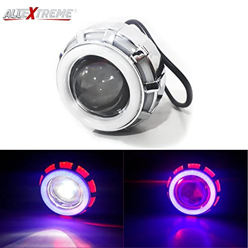 AllExtreme EXDRPRW1 High Intensity Led Projector Lamp Stylish Dual Ring COB LED Headlight with Hi/Low Beam and Flasher Function for All Bikes (15W, Red & White)