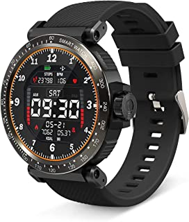 Smartwatch, BlitzWolf 1,3 Zoll HD Full Touchscreen IP68 wasserdichte Smartwatch Fitness Tracker Sportuhr Uhr Armbanduhr mit Pulsmesser, Schrittzähler, Schlafmonitor für Frauen, Männer, Kinder(Schwarz)