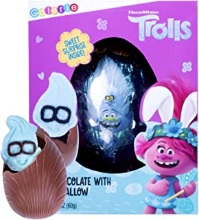 Trolls Milk Chocolate Egg with Marshmallow Surprise, Easter Candy Basket Stuffer, 2.12 Ounces