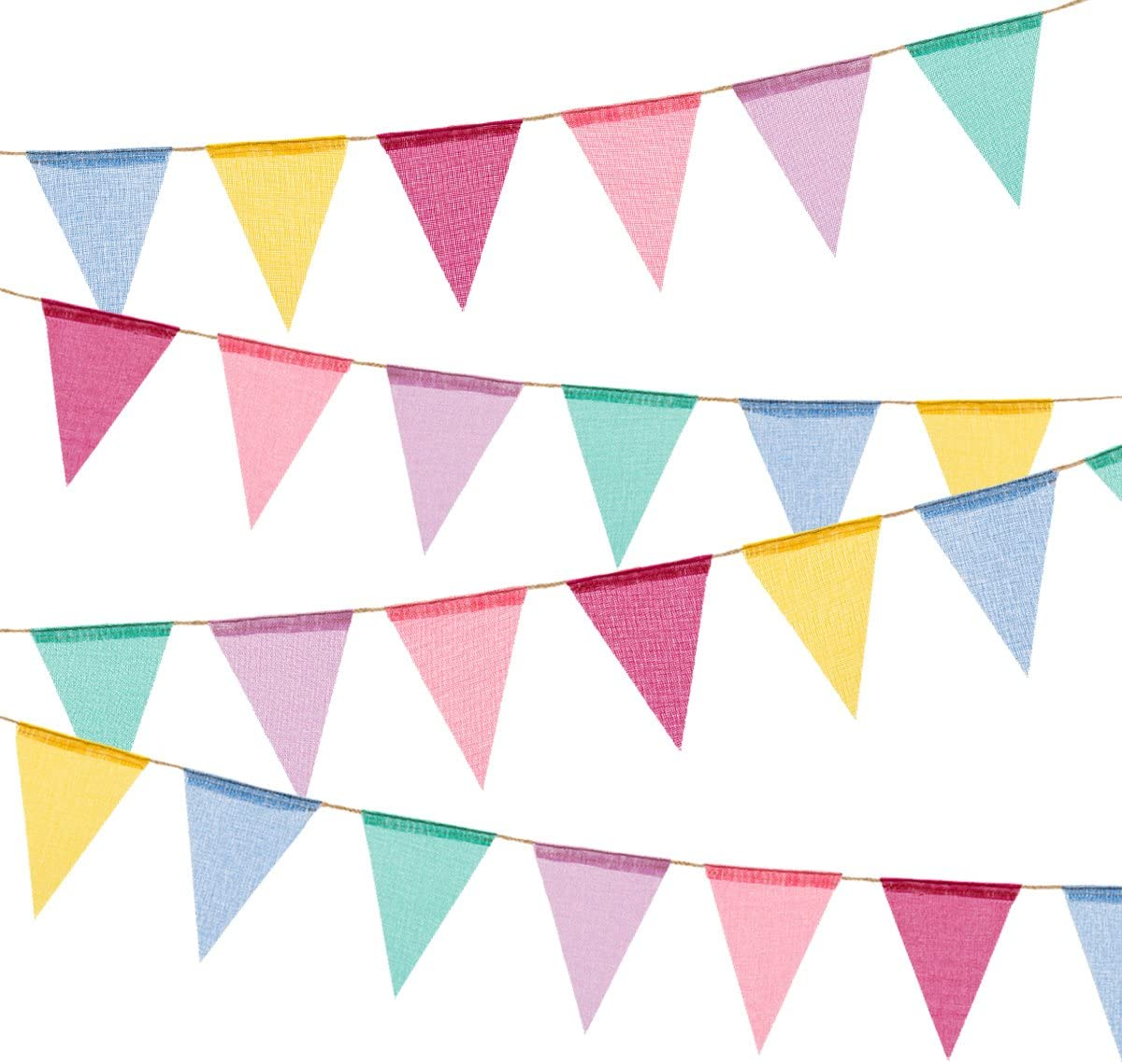 BEFORYOU 36 Flags Imitated Burlap Pennant Banner - Multicolor Fa