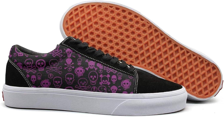 Winging Women Dark Purple Skull and Crossbones Retro Suede Canvas shoes Old Skool Sneakers