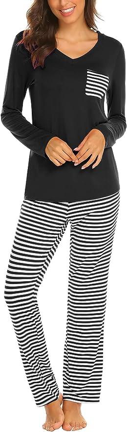 114 opinioni per Balancora Pigiama da donna in 2 pezzi, con maglietta e pantaloni, biancheria da
