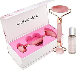 ROSE QUARTZ ROLLER FOR FACE - 2-in-1 Rose Quartz Face Roller with Mini Gem Bottle For Essential Oils - Natural Facial Jade Roller