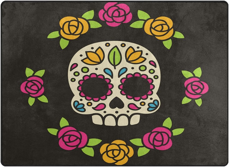 SUABO 80 x 58 inches Area Rug Non-Slip Floor Mat Mexican Sugar Skull Printed Doormats for Living Room Bedroom