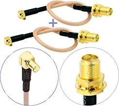 Pack of 2 RF RG316 Pigtail RP-SMA Female Antenna Connector to MMCX Male Low Loss Coaxial Cable Adapter Right Angle (4 inches (10 cm))