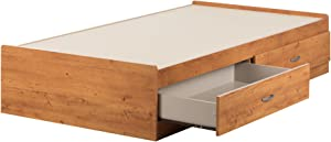 South Shore Logik Mates Bed with 2 Drawers, Twin, Country Pine