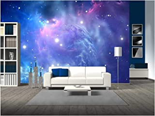 wall26 - Blue Space Nebula - Removable Wall Mural   Self-Adhesive Large Wallpaper - 100x144 inches