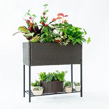 C-Hopetree Indoor Outdoor Raised Garden Planter Stand - Wicker Box