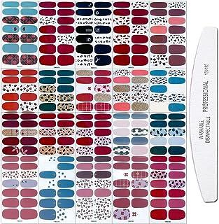 WOKOTO 20 Sheets Adhesive Nail Art Polish Stickers Tips with 1Pc Nail File Leopard Print Nail Wraps Decals Strips Set Mani...