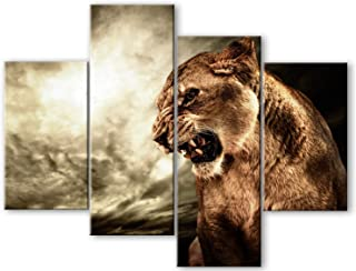 MuYu Art – 4 Pieces Abstract Painting Giclee Prints Picture Wall Painting Brown Fierce Lion Against Stormy Sky Print On Canvas Wood Framed Hanging The Picture for Home Modern Decoration (Brown Lion)