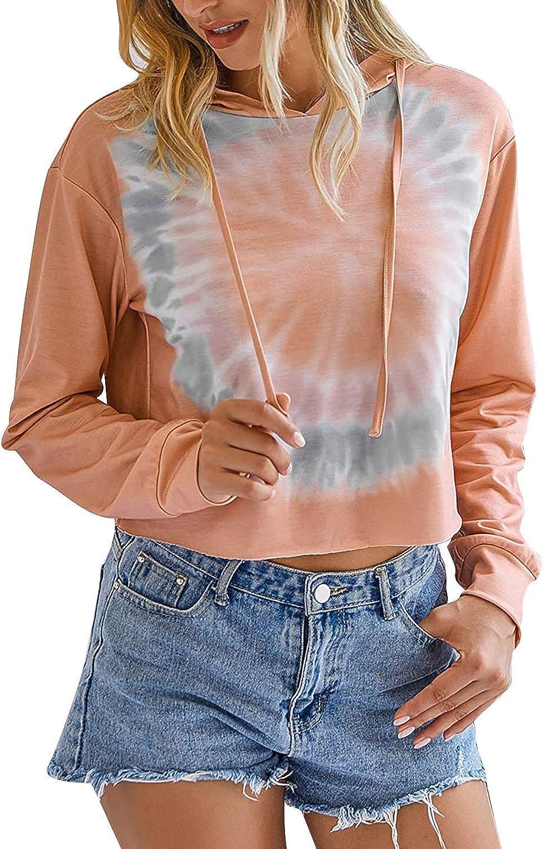 Women's Tie Dye Printed Long Sleeve Sweatshirts Hooded Ombre Color Adjustable Drawstring Sweatshirts Hoodie