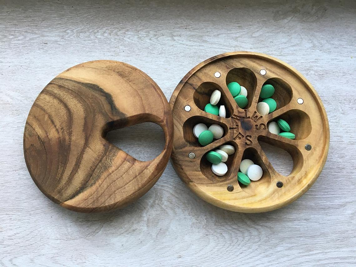 Wooden Weekly Pill Box 7 depot Day Decorative Travel N Special price for a limited time