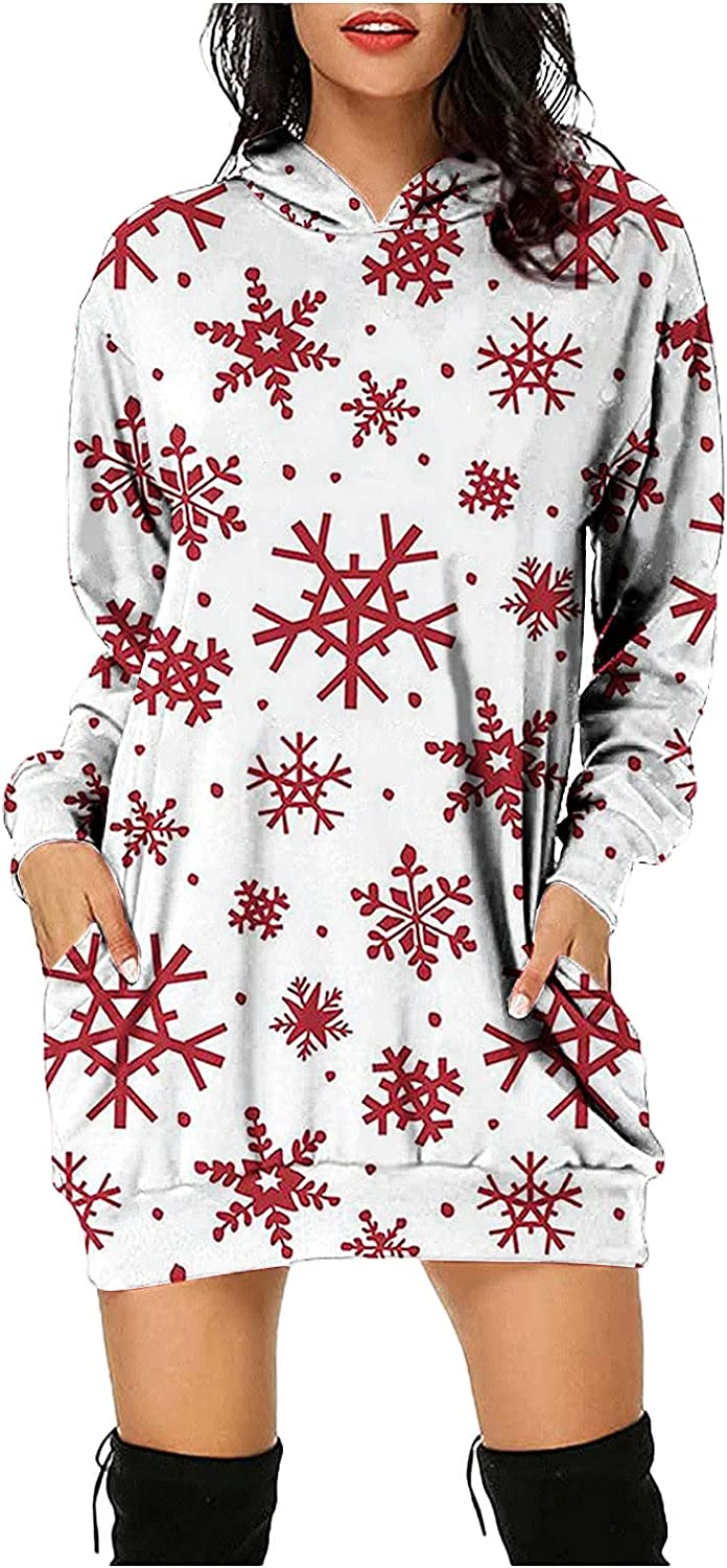 Womens Christmas Snowman Print Casual Hooded Long Sleeve Sweatshirt Dress with Pockets Tops Loose Blouse