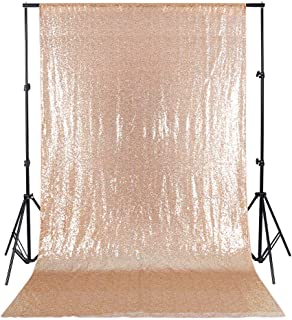 QueenDream Elegant Rectangular Sequin Backdrop Fabric 4ftX6.5ft Rose Gold Sequin Backdrop for Party Decoration