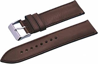 Rev ITAL337 18mm 20mm 22mm 24mm Black Brown Padded Smooth Backing Genuine Leather Replacement Strap
