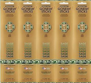 Gonesh Incense Sticks Extra Rich Collection - Sage 5 Packs (100 Total)