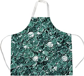 iPrint Cotton Linen Apron,Two Side Pocket,Pearls,Crystal Clear Balls Coins Pattern Never Ending Liquid Objects Monochrome Design Print,Teal,for Cooking Baking Gardening