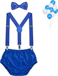 Baby Boys First Birthday Cake Smash Outfit Bloomers Bow Tie Suspenders Set Fishing Party Diaper Cover by LEVAO