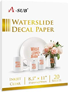 A-SUB Waterslide Decal Paper for Inkjet Printers 20 Sheets Clear Water Slide Transfer Paper 8.5x11 in for DIY Tumbler, Mug...