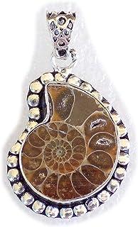 Ammonite Shell Pendant, Silver Plated Brass Pendant, Handmade Pendant, Gift Jewelry, Women Jewellry, Fashion Jewellry, BRS...