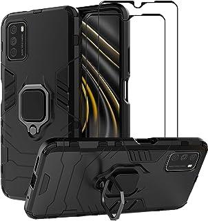 Xiaomi Poco M3 ケース [強化ガラスフィルム2枚付] カバー ハイブリッドケース 二重保護 ハードPC+ソフトTPU 車載マグネット対応 リング付き スタンド機能 耐衝撃 かっこいい Xiaomi Poco M3用(ブラック)