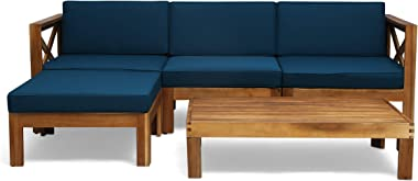 Christopher Knight Home 308261 Mamie Outdoor Acacia Wood 5 Piece Sofa Set, Teak Finish, Dark Teal