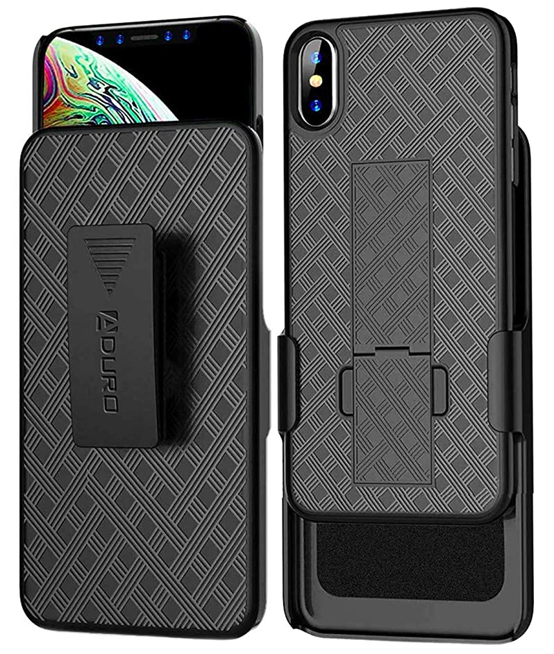 iPhone XR Holster Case, Aduro Combo Shell & Holster Case - Super Slim Shell Case with Built-in Kickstand, Swivel Belt Clip Holster for Apple iPhone XR/iPhone 10R (2018/2019)