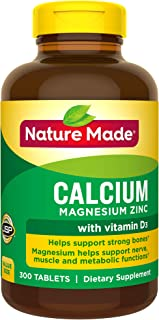Nature Made Calcium, Magnesium Zinc with Vitamin D3, 300 Count for Bone Health (Packaging May Vary)
