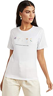 Let Yourself Grow Slogan Printed Regular Fit T-shirt For Women's White Closet by Styli