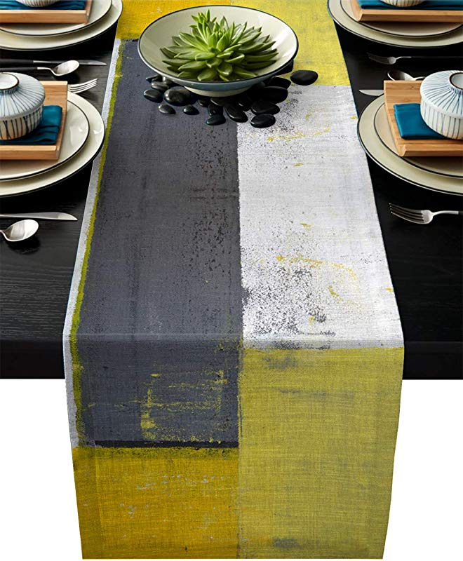 Edwiinsa Grey And Yellow Cotton Linen Table Runner Rectangle Plate Mat Outdoor Rug Runner For Coffee Dining Banquet Home Decor Street Art Modern Grunge Abstract Design Squares Theme 14 X 72 Inch