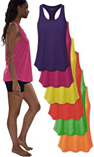 Women's Everyday Flowy Burnout Slub Racer Back Active Workout Tank Tops- 5 Pack & 6 Pack