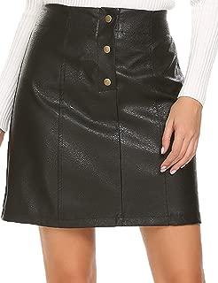 Women's Leather Skirts High Waist Button Front A Line Short Mini Skirt