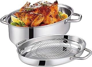 Eono by Amazon Fuente de horno ovalada mediana para inducción de acero inoxidable con rejilla, tapa y asas, apta para lavavajillas, 41 x 28 x 18 cm, 7 L + 4 L, RST-38