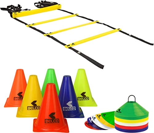 BELCO SPORTS 6 Inch Cones Pack 6,10 Space Markers and 4 Meter Ladder Agility Combos