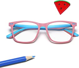 Penbea Kids Blue Light Blocking Glasses - Blue Light Glasses for Kids Girls Boys Age 7-12, Fake Glasses Anti Bluelight Glasses for Kids - Pink-Light Blue