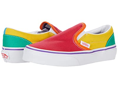 Vans Kids Classic Slip-On (Little Kid) ((Rainbow Color-Block) Multi/True White) Girls Shoes