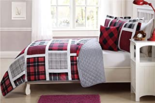 Elegant Home Multicolor Red Black White Grey Printed Plaid Patchwork Design Colorful 4 Piece Quilt Bedspread Bedding Set with Decorative Pillow for Kids/Boys # Plaid (Full Size)