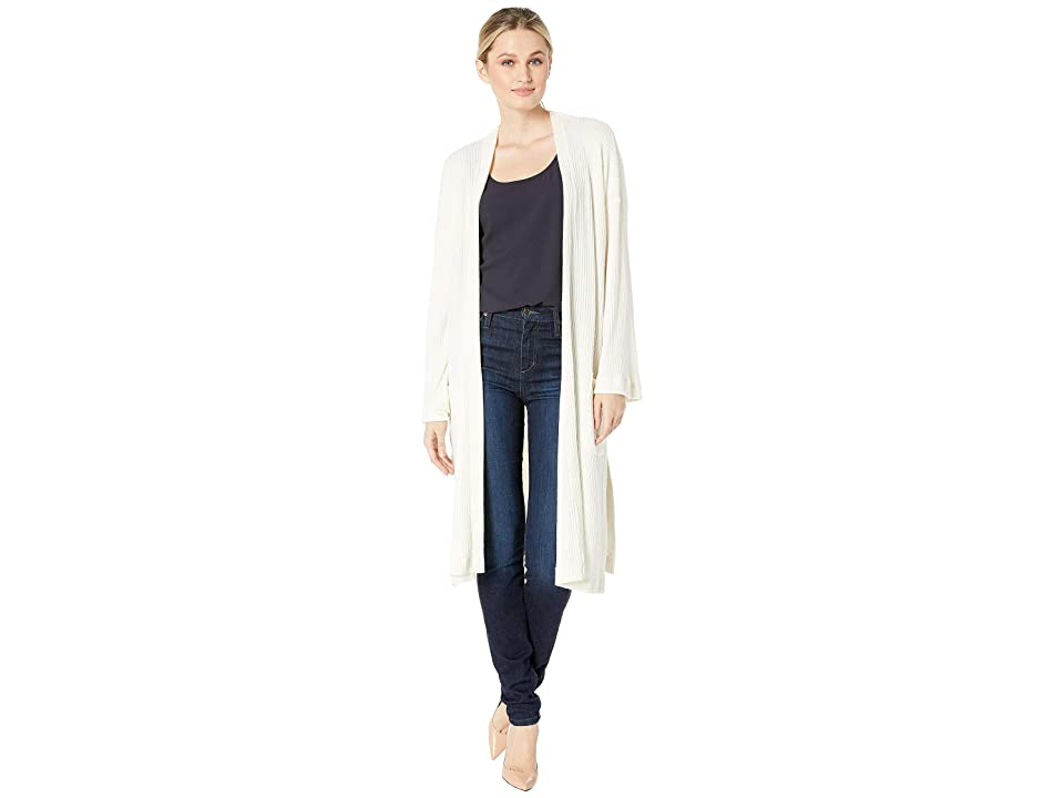 American Rose Juniper Ribbed Cardigan with Pockets (Ivory) Women