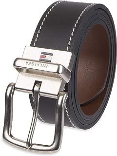 Tommy Hilfiger Men's Contrast-Stitching Jean Belt - Black