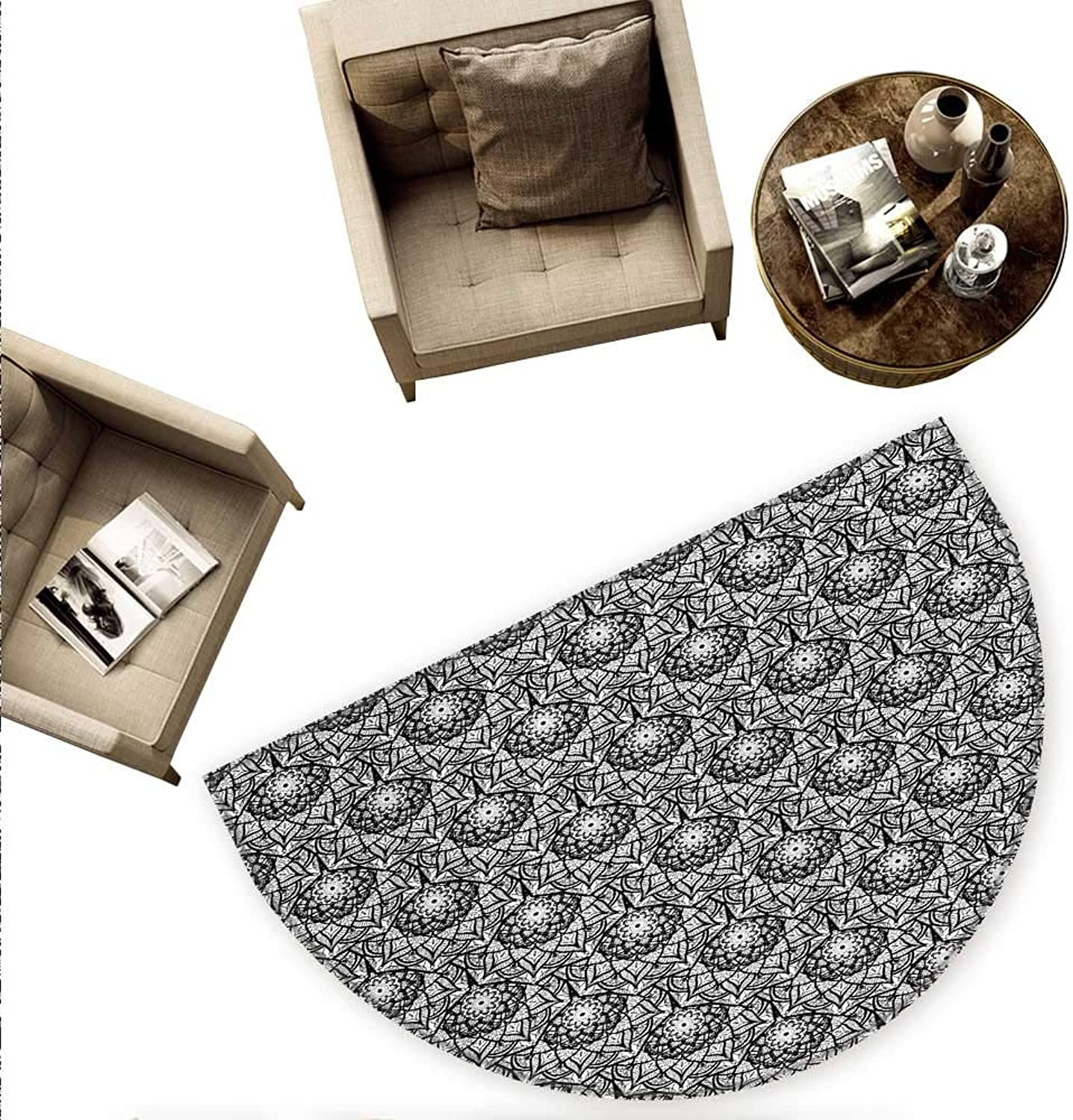 Black and White Semicircular Cushion Hand Drawn Flower Pattern with Oriental Inspirations Lace Style Petals Entry Door Mat H 78.7  xD 118.1  Black White