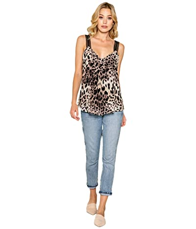LAVENDER BROWN Cheetah Printed Cami with Lace Strap (Brown Multi) Women