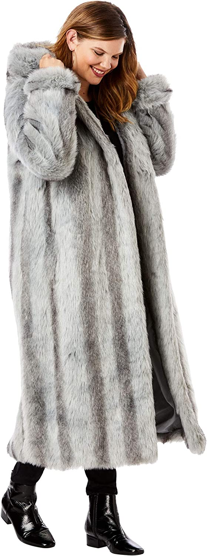 Roaman's Women's Plus Size Full Length Faux-Fur Coat With Hood