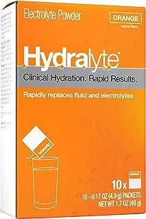 Hydralyte Electrolyte Hydration Powder Packets Formula, Orange, 10 Count