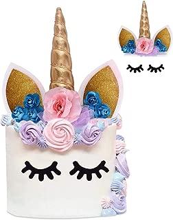Unicorn Cake Topper with Eyelashes and Flowers, NALAKUVARA Handmade Gold Unicorn Birthday Cake Toppers Set, Unicorn Cake Decorations Kit for Girls, Party Supplies, Party Favors, Baby Shower and Wedding