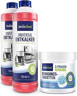 Kit d'entretien détartrant et 2 tablettes de nettoyage pour machines à café automatiques - 2 x 750 ml et 25 tablettes de n...