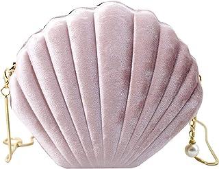 Milya Damen Mini Abendtasche Clutch Handtasche Mädchen Muschel Umhängetasche Cordsamt Partytasche Bankett Schultertasche m...